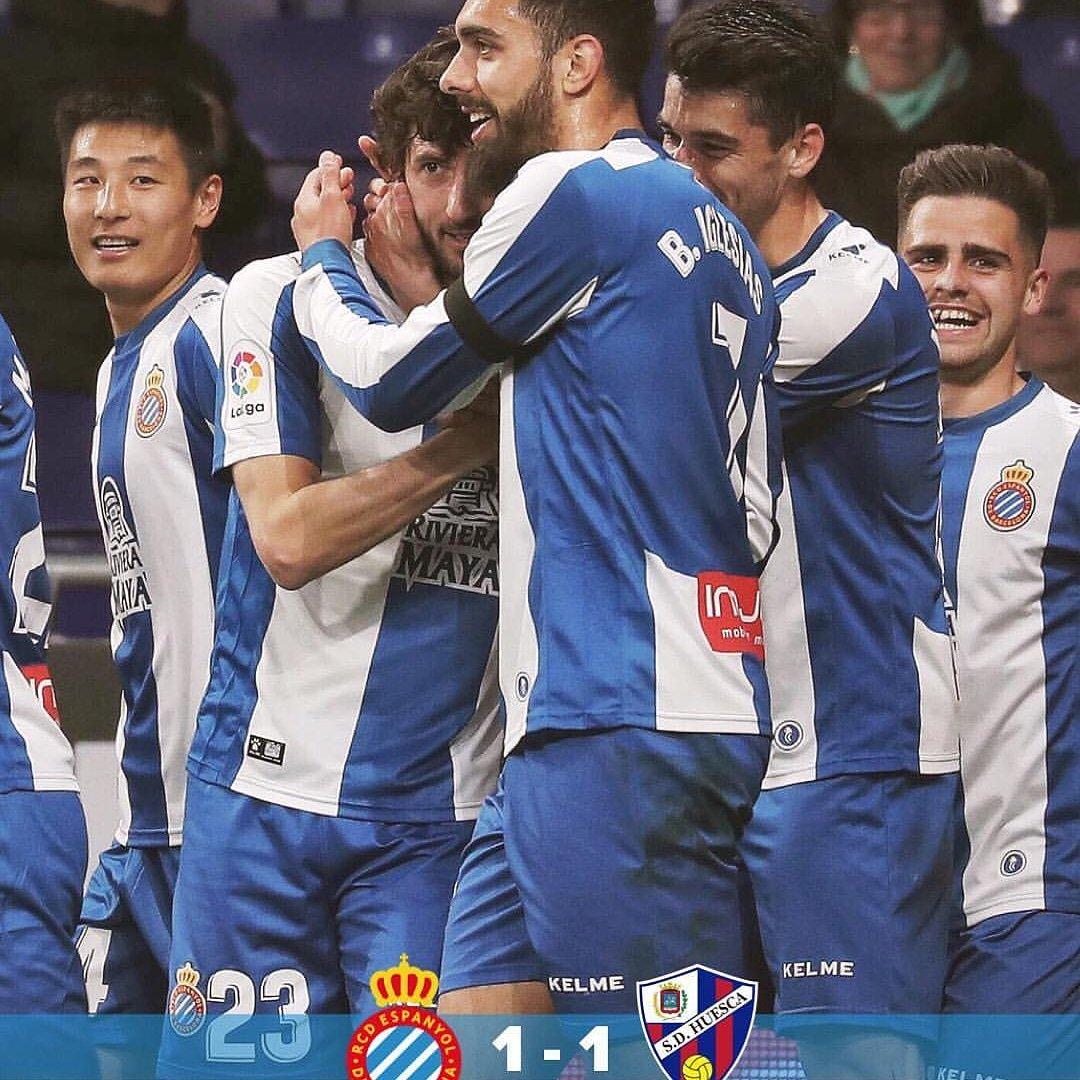 #laligaespañola Final del Partido: #espanyol 1-1 #huesca  En la Jornada 25 El Espanyol y el Huesca empataron por un marcador de 1 a 1 y por lo tanto hubo reparto de puntos. #futbol