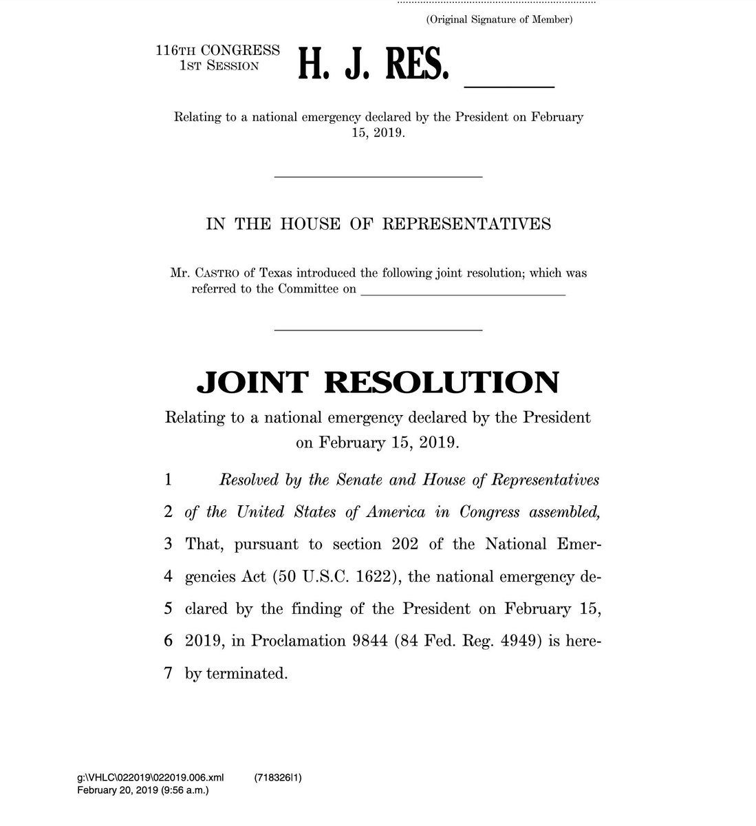Rep. @JoaquinCastrotx introduces the joint resolution to terminate Trump's national emergency declaration to build a border wall.  Here are the 226 original cosponsors—enough votes pass the House: https://castro.house.gov/sites/castro.house.gov/files/List%20of%20Cosponsors%2C%20H.J.Res_.%2046_0.pdf …