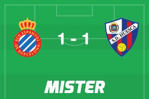 Puntos del #Espanyol 1 - 1 #Huesca ya disponibles en https://playmister.com/