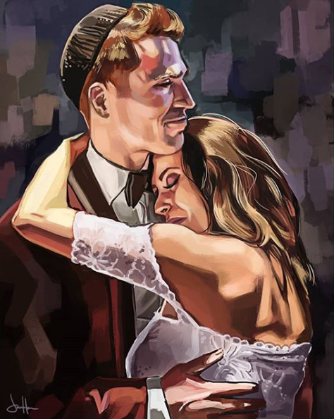 Another commission finished! I loved the reference, the color and shapes I got to play with on this one.  https://www.instagram.com/jhanson_art  #weddings #portrait