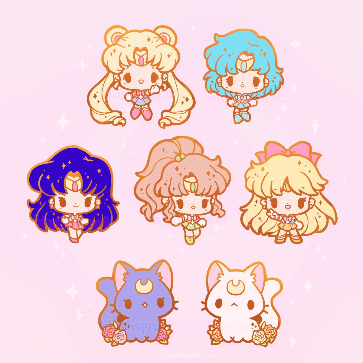 [RTs appreciated!] Sailor Moon pins are up for preorder until March 9th! 🌙✨💖 Free holo Luna & Artemis stickers with every purchase of a complete set ☺️ https://blushsprout.com/collections/preorders…