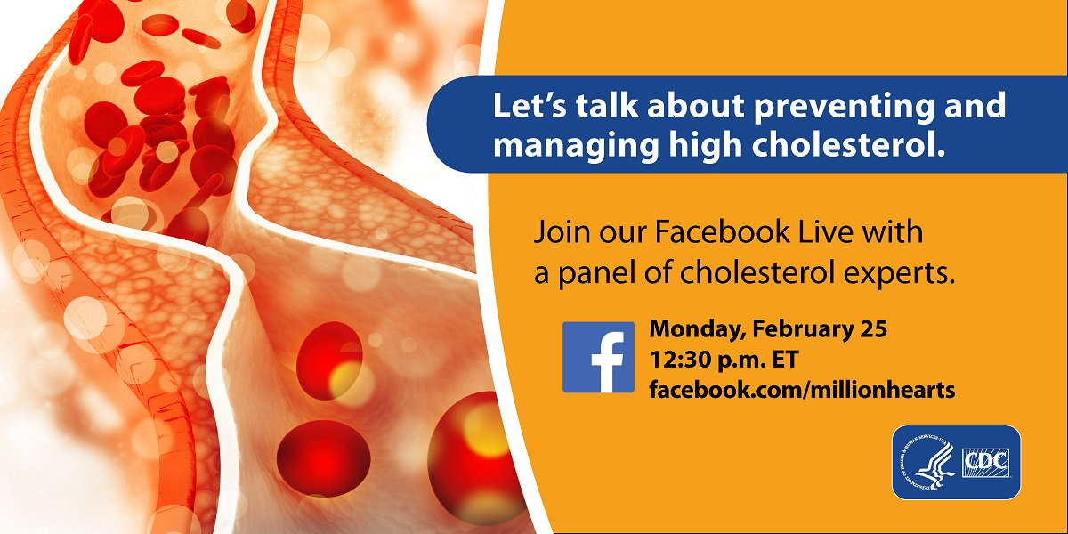test Twitter Media - Do you have questions about preventing and managing high #cholesterol? Join @CDCHeart_Stroke and a panel of cholesterol experts for a Facebook Live event on February 25 at 12:30 pm ET. Tune in at https://t.co/rLdeAt7cyx. #HeartMonth https://t.co/6FGXEgv6Wu