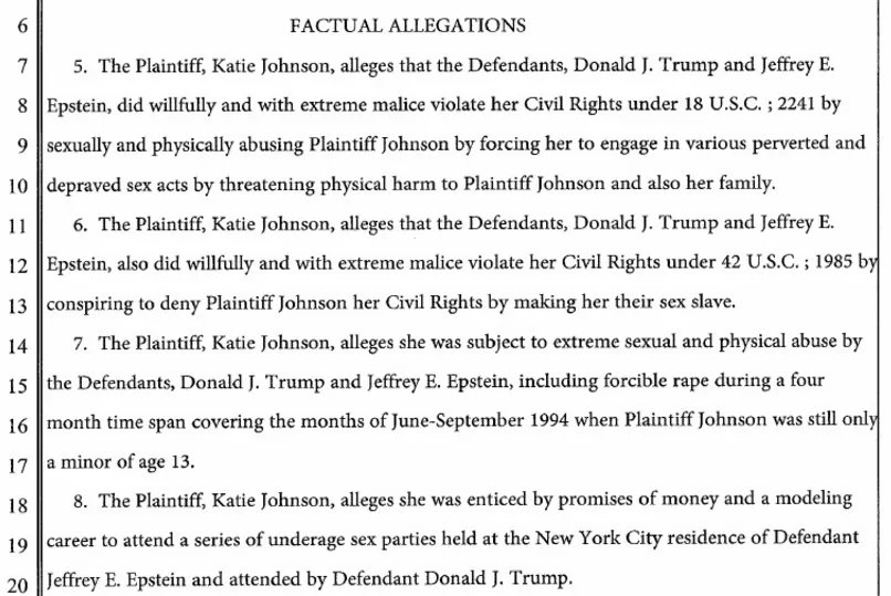 """Trump was a co-conspirator! The minor girls sued Trump and Epstein. These cases were """"fixed"""" before the election."""