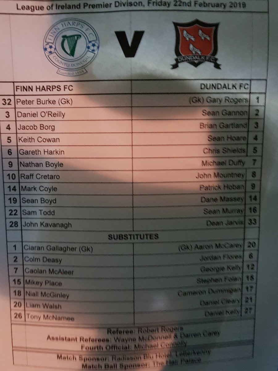 Tonight&#39;s teams... Murray and Jarvis in for McEleney and Benson for Dundalk <br>http://pic.twitter.com/6xFKsfGlb2