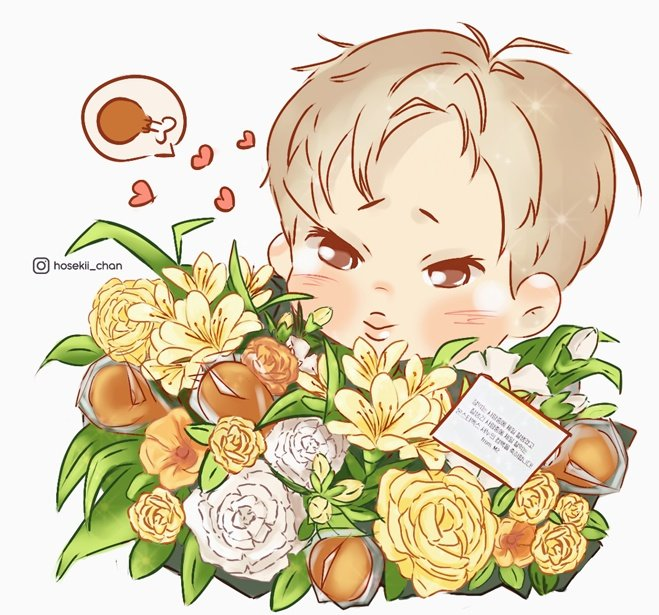 Thank you whoever gave this to Shownu. Nunu with (flowers and chicken Bouquet) is what he deserve  #셔누    Thank you M2, thank you @MnetKR @OfficialMonstaX #몬스타엑스<br>http://pic.twitter.com/hJDN0uXXIt