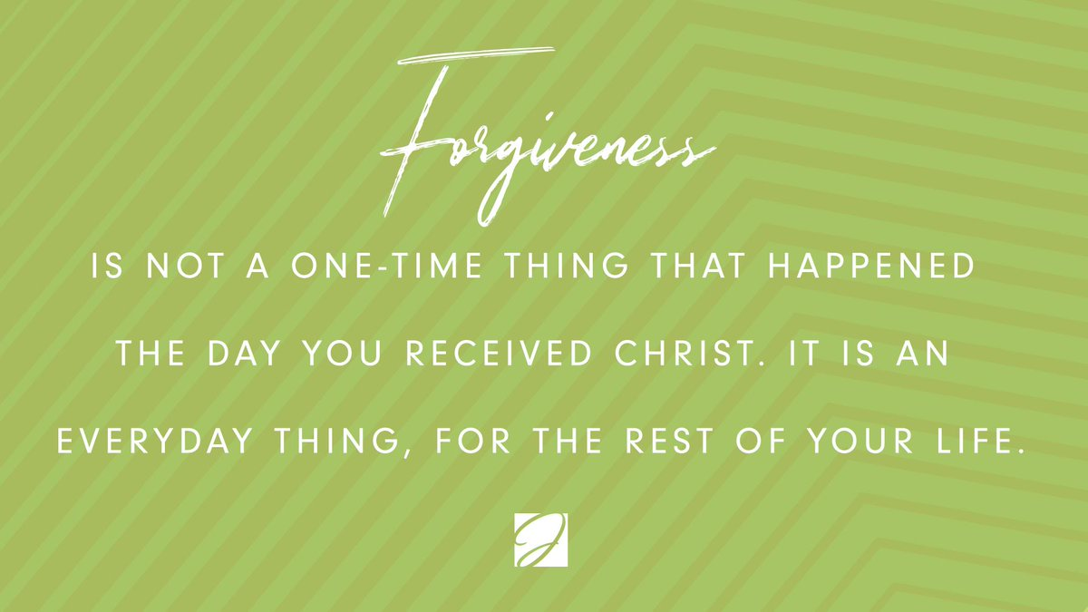 I like the part of Romans 3:23 that says we are all 'falling' short of God's glory. We did not just fall one time, we are always falling, and the forgiveness that God offers in Christ is continual. It is not a one-time thing, but it is available any time we need it.  #forgiveness