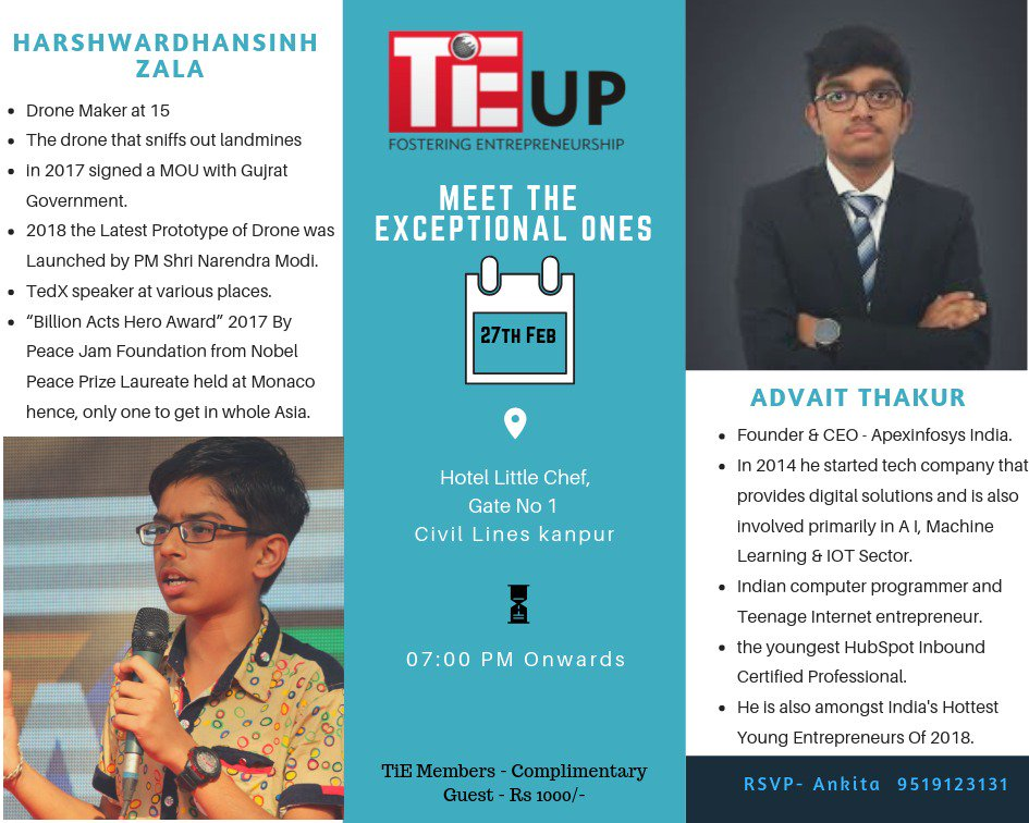 Meet the hottest young entrepreneur of 2018 #Entrepreneurship #TiE UP<br>http://pic.twitter.com/1qjuV3aqBi