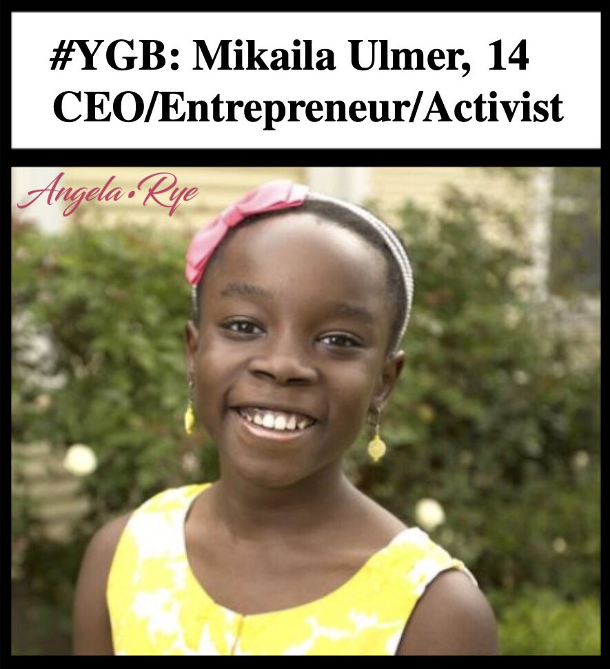 Mikaila Ulmer is a young Entrepreneur from Austin, Texas. She founded @MikailasBees Lemonade, a natural and sustainably produced beverage sweetened with real local honey. Keep changing the world, Mikaila! Your community is so proud of you for making us look FABULOUS! #AngelaYGB<br>http://pic.twitter.com/3JbMOzChjK