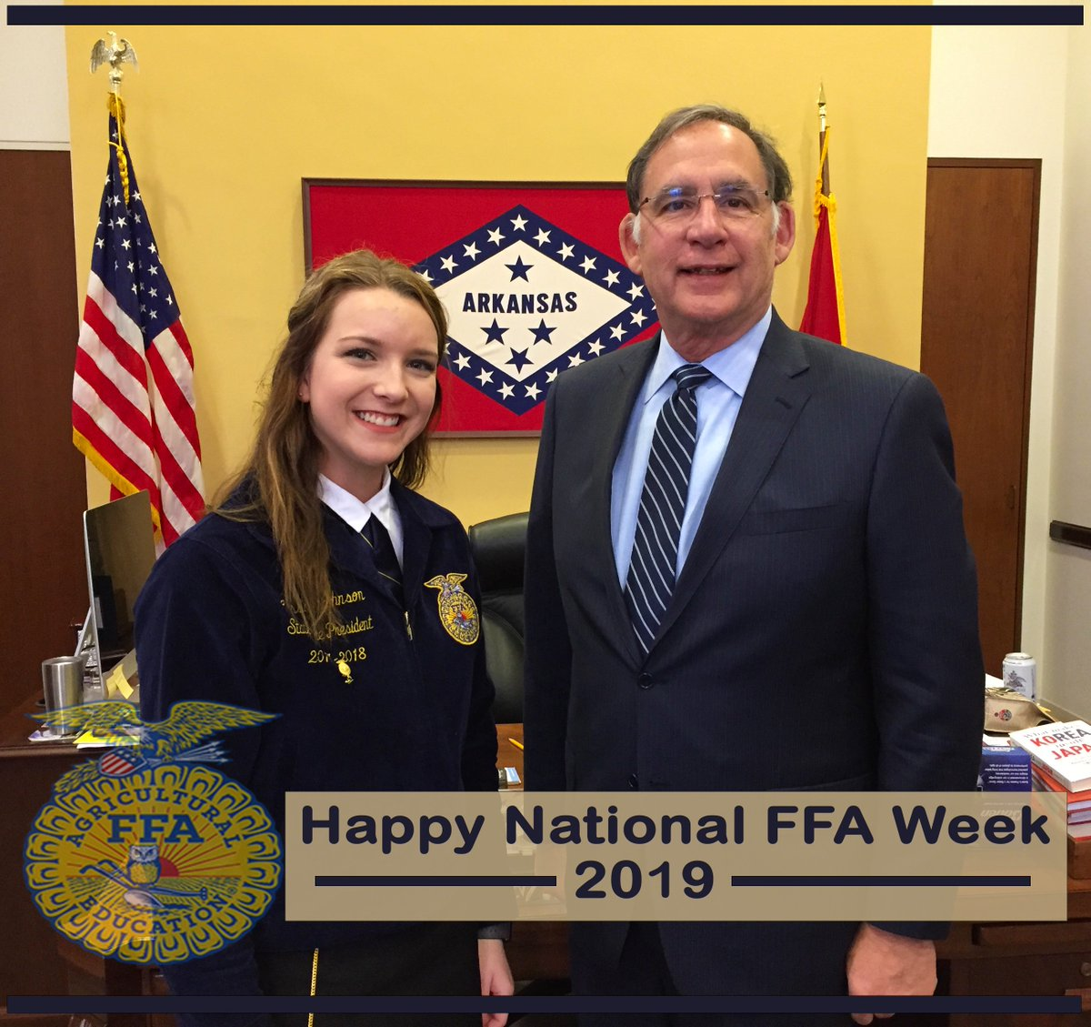 Grateful for what @NationalFFA & @ArkansasFFA do to help advance ag education and shape young lives. Celebrating this #FFAWeek along with them and looking forward to the next time we have an opportunity to meet again. Those blue jackets are always a welcome sight. #FFAWeek2019