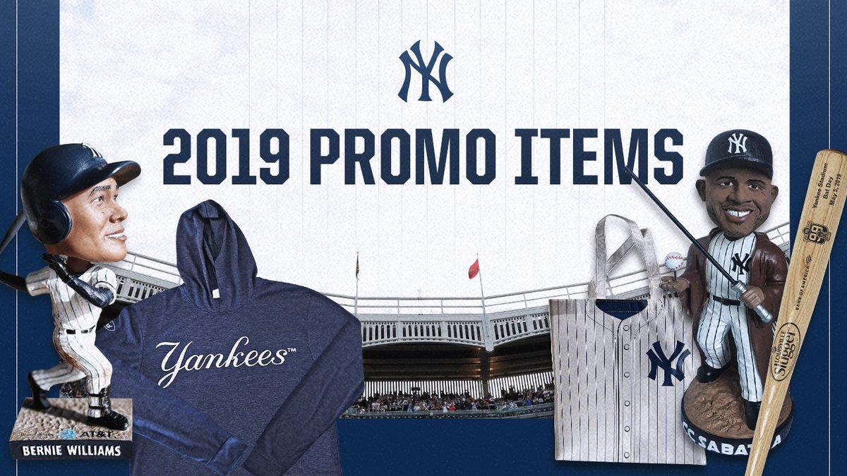 014a6a444a66e6 2019 Yankees Promotional Highlights include a Star Wars Day CC Sabathia  Jedi Bobblehead, a Bernie Williams Bobblehead, a Yankees Lightweight Hoodie  ...