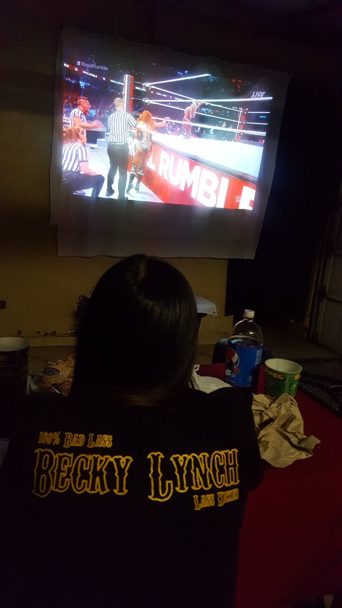 here is my girlfriend back at the RR with all her hopes on @BeckyLynchWWE to win it. She wasnt a wrestling fan at all until You @BeckyLynchWWE. Thank you so much for being THE MAN and get my girlfriend into wrestling, hope you get that title at Wrestlemania. #TheMan<br>http://pic.twitter.com/dIQDPWk4Tw