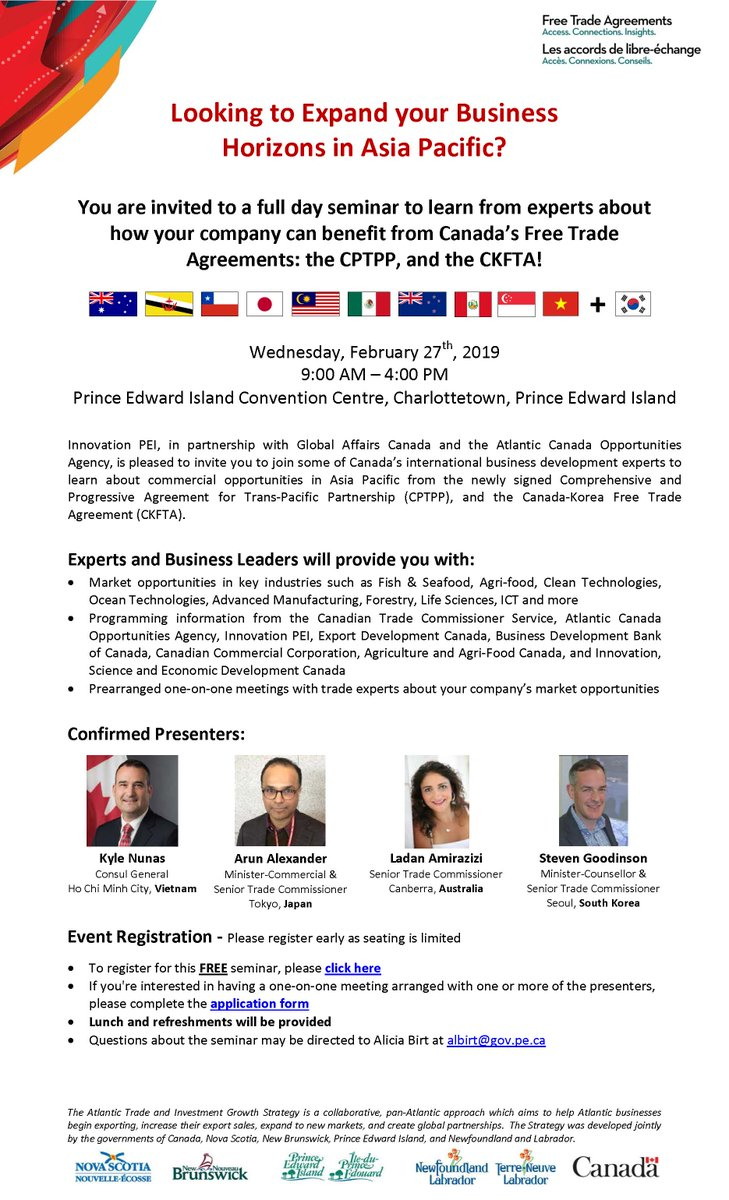 Calling Island exporters - Join Innovation PEI, Global Affairs Canada and the Atlantic Canada Opportunities Agency to learn more about commercial opportunities in the Asia Pacific region. Register online https://bit.ly/2SUTu1J