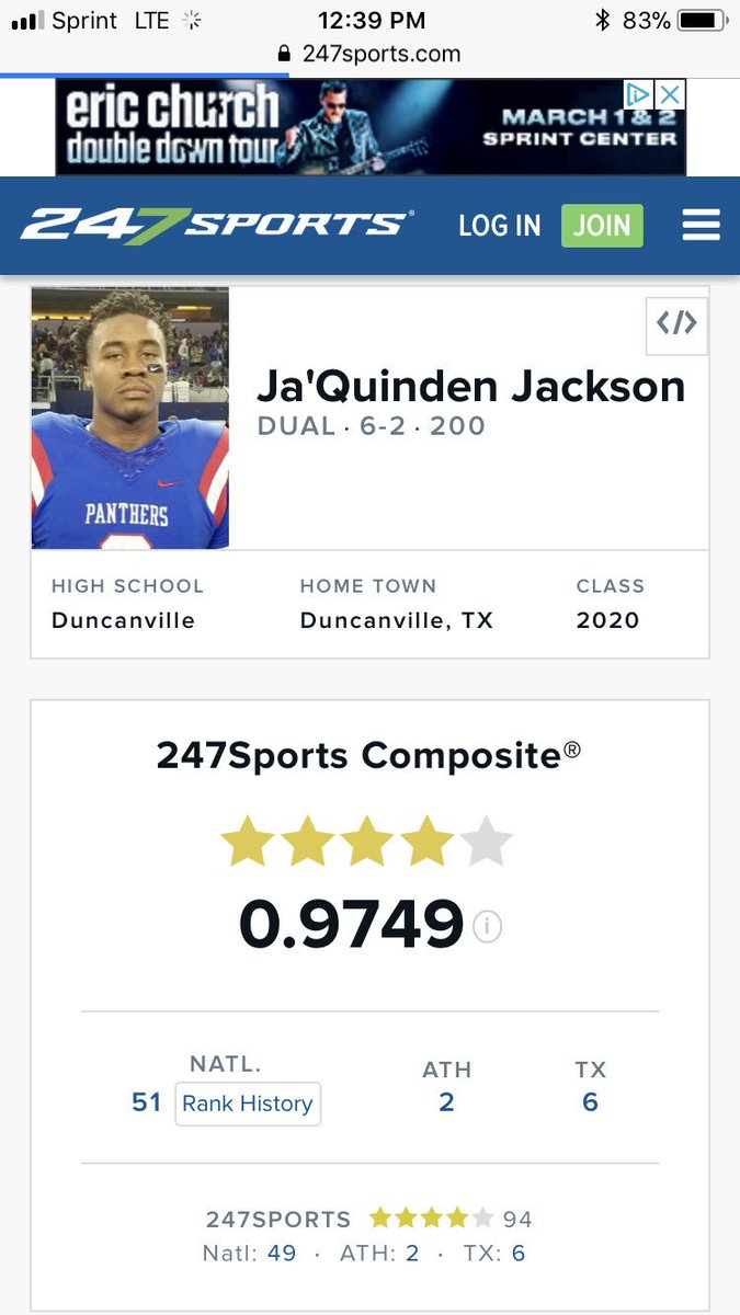 This dude will be in Lawrence this weekend visiting KU Football. 51st ranked player in the country <br>http://pic.twitter.com/FI2EHZuZoO
