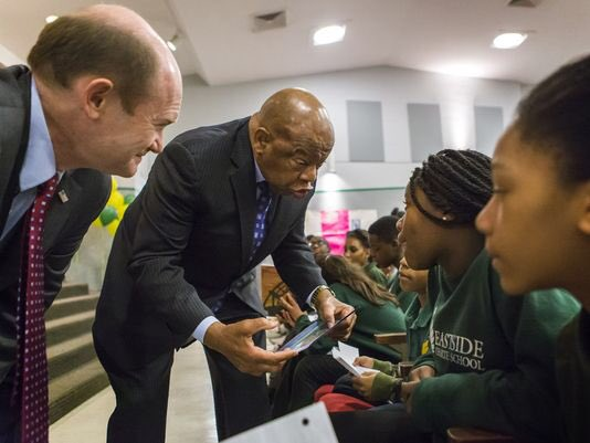 Happy belated birthday to my friend and true legend John Lewis. This photo was taken at East Side Charter in 2016 when Rep. Lewis visited students in the First State. #flashbackfriday 📸:  @delawareonline