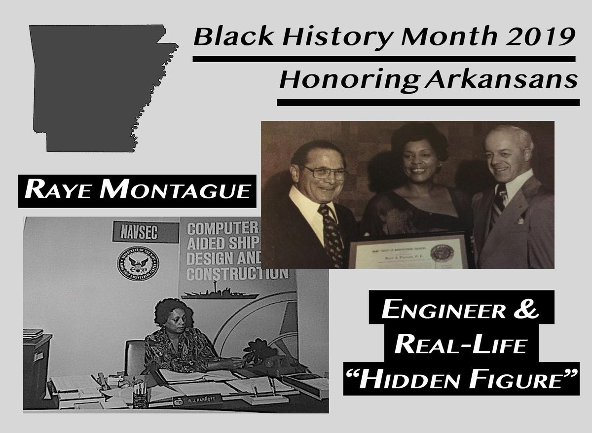 """Another Arkansan we recognize and celebrate this #BlackHistoryMonth is Raye Montague. Referred to as a real-life """"Hidden Figure,"""" she was a trailblazing engineer who pioneered the use of computers to design ships for the Navy. We're incredibly proud of her life & accomplishments."""