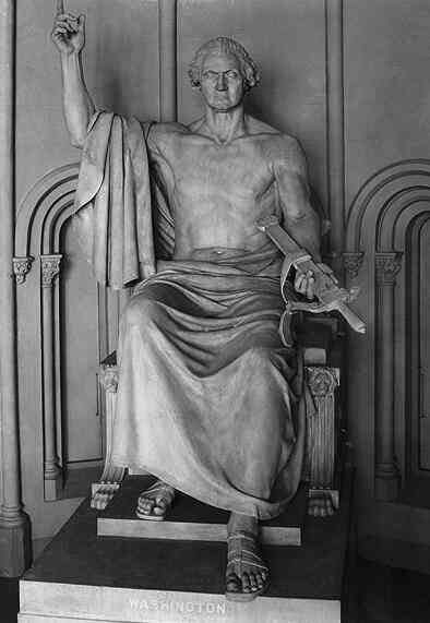 This 1832 statue of George Washington (born today 1732) was paid for by Congress but banished from US Capitol grounds as undignified: <br>http://pic.twitter.com/SYuoVUw8ro