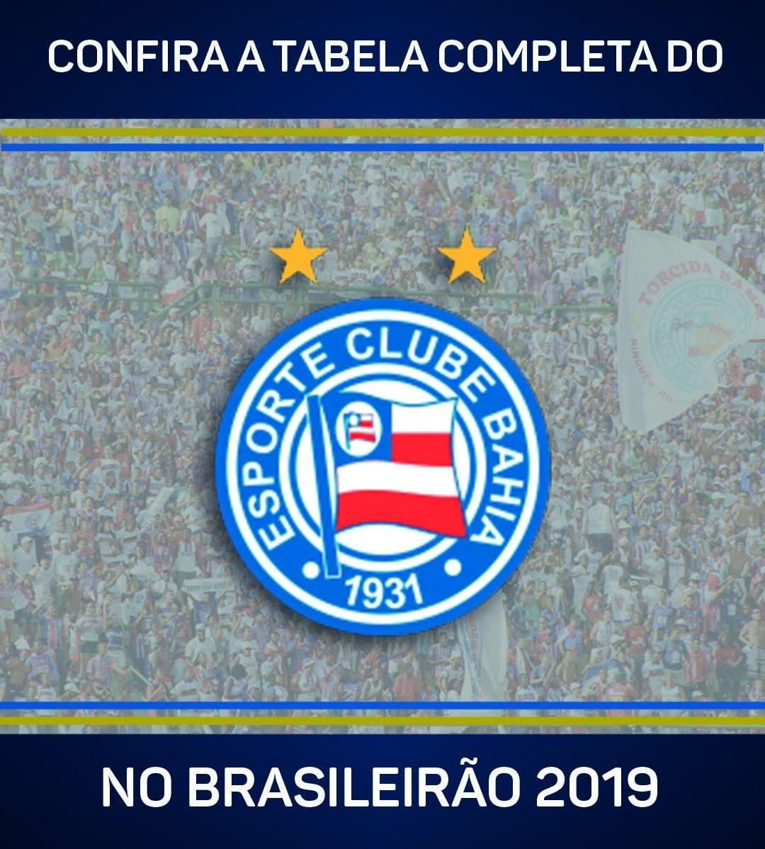 O @ECBahia começa a caminhada no #Brasileirão2019 em casa, contra o Corinthians!  Vem ver a tabela completa do clube >>  https://t.co/RNrYN5D089