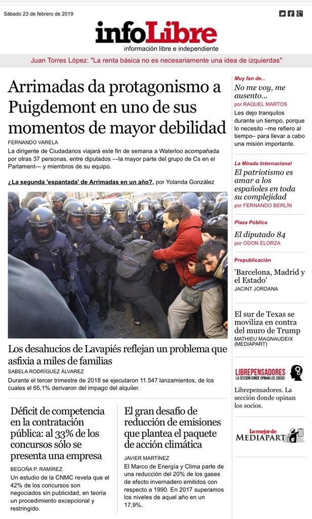 Portada de @_infoLibre: #Arrimadas da protagonismo a #Puigdemont en uno de sus momentos de mayor debilidad.  https://www.infolibre.es/noticias/politica/2019/02/23/arrimadas_protagonismo_puigdemont_uno_sus_momentos_mas_delicados_independentismo_92210_1012.html…