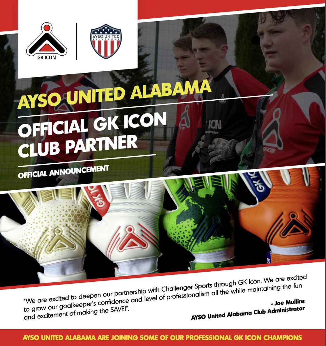 We are excited to welcome @AYSOUnitedAL as our newest #GKICON Partner Club! To learn more about the perks of becoming a partner club, click here! http://qoo.ly/vkztx #forthenextGEN #ICONIC #goalkeeper #soccer