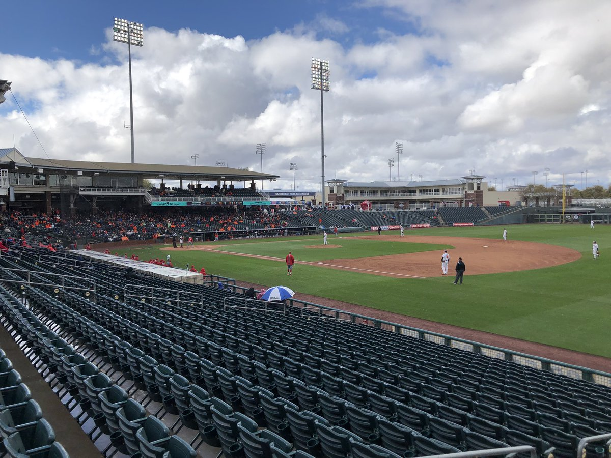 Blue sky is beginning to appear in Surprise, Arizona, after constant cloudy/rainy conditions at @Rangers spring training. @NBCDFW