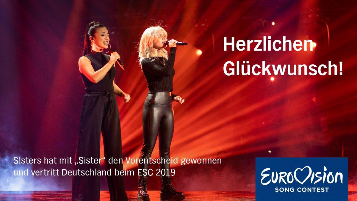 """Das Duo S!sters hat mit """"Sister"""" den Vorentscheid gewonnen und vertritt Deutschland beim ESC in Israel. Herzlichen Glückwunsch! Alle Infos -> https://t.co/VpmCUWTUD0 #UnserLiedfuerIsrael #ULfI #Eurovision #ESC2019  #DareToDream"""