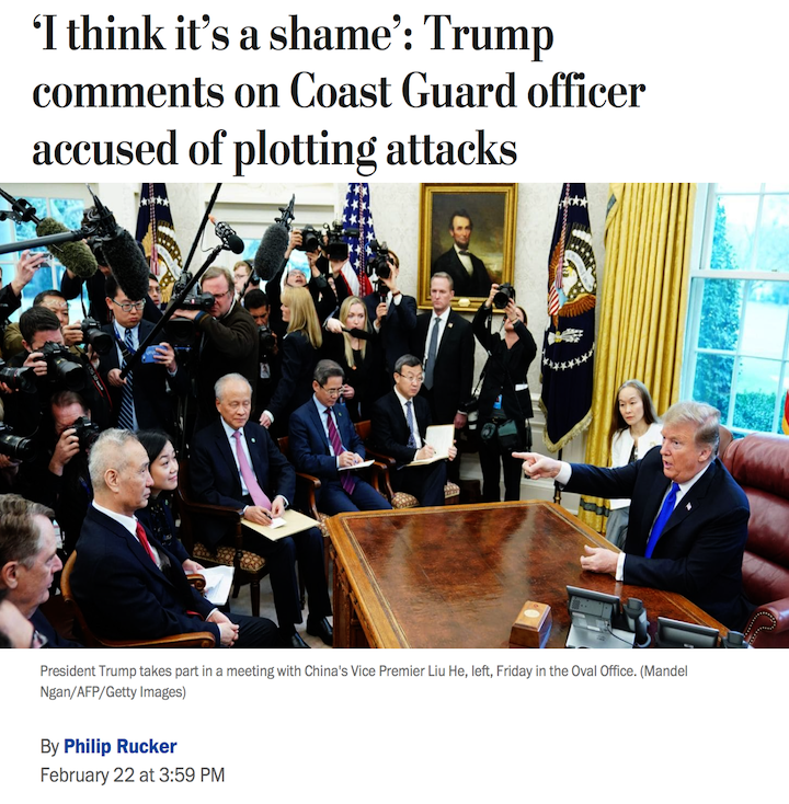 """""""It's a shame"""": Trump finally comments on terrorist Christopher Hasson, a Trump supporting white nationalist accused of plotting the mass murder of people Trump regularly attacks.  Trump claims no responsibility: """"I think my language is very nice."""" #Maddow https://wapo.st/2TcjMvY?tid=ss_tw&utm_term=.f23856db658a…"""