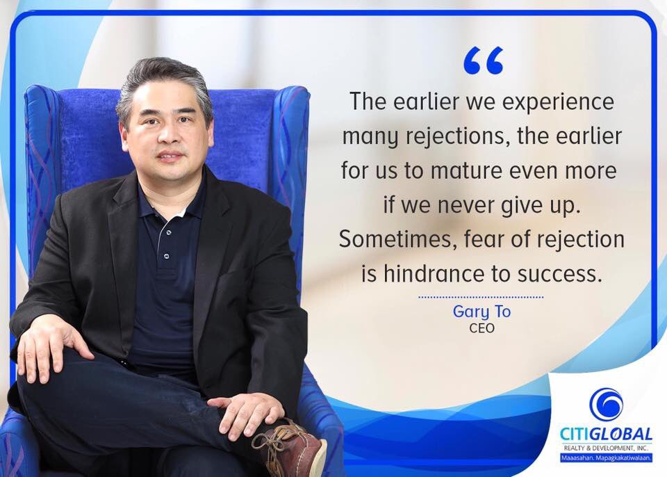 CitiGlobal is a family composed of dreamers. Our CEO, Sir Gary To, shares an inspiring quote on how one can reach great success by learning to find opportunities in failures.  #CitiglobalDreamers #DADDYSGURLTinigNiMarikit  @mainedcm<br>http://pic.twitter.com/EaqMu6VqRt