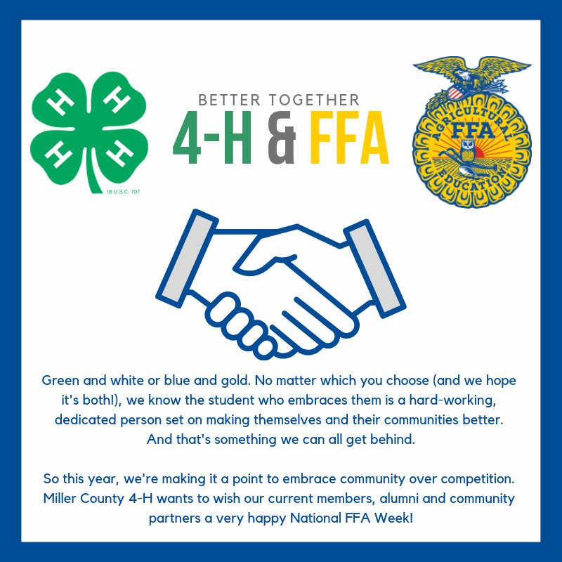 Happy National FFA Week from your friends at Miller County 4-H! 💙💛🍀 • #arkansas4h @ArkansasFFA #nationalFFAweek #community #millercounty4H #millercountyUAEX