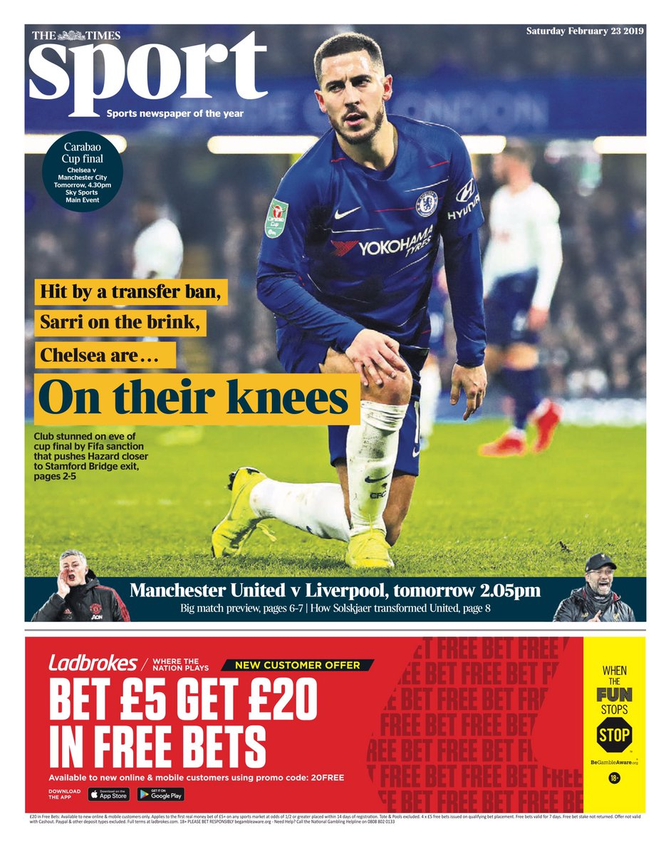TIMES SPORT: On their knees #tomorrowspaperstoday