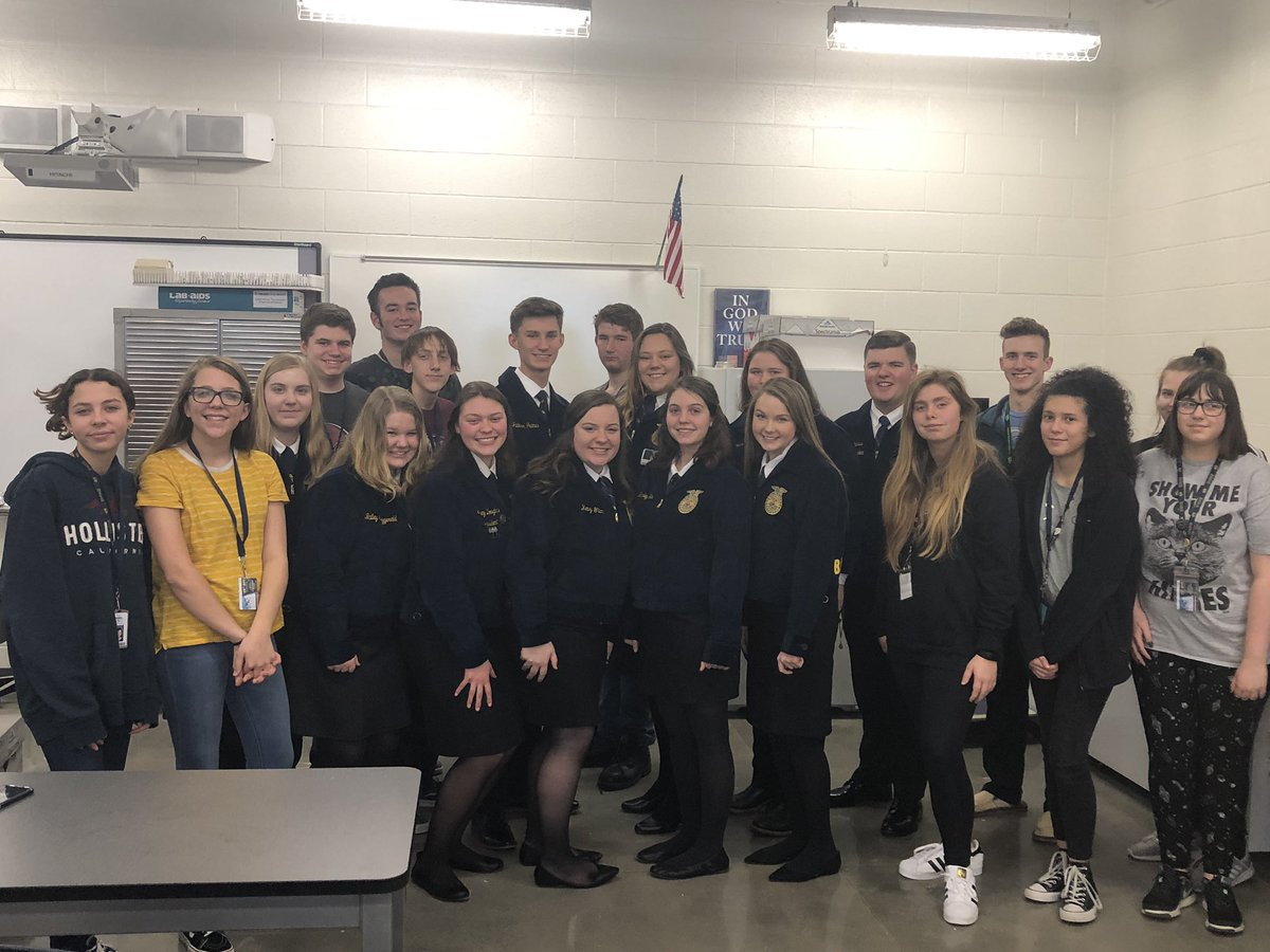 Thanks to Bentonville West High School for hosting National Officer, Shea Booster this afternoon along with area chapter members.  #FFAWeek2019
