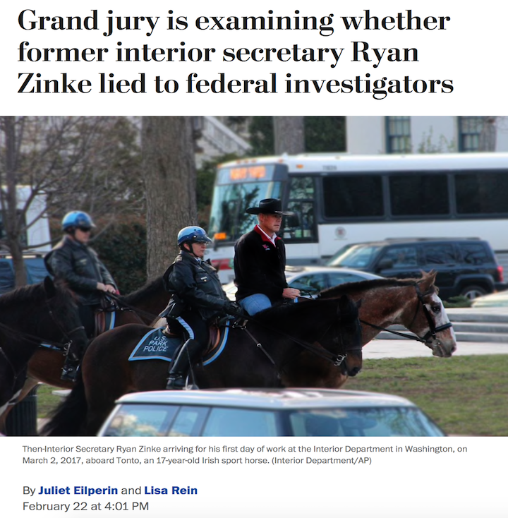 NEW: A grand jury in Washington is examining whether Trump's former Secretary of the Interior, Ryan Zinke, lied to federal investigators.  Which raises the question: How many of Trump's criminal cronies can fit into one news cycle? #Maddow https://wapo.st/2IuBrus?tid=ss_tw&utm_term=.c27bbb25166a…
