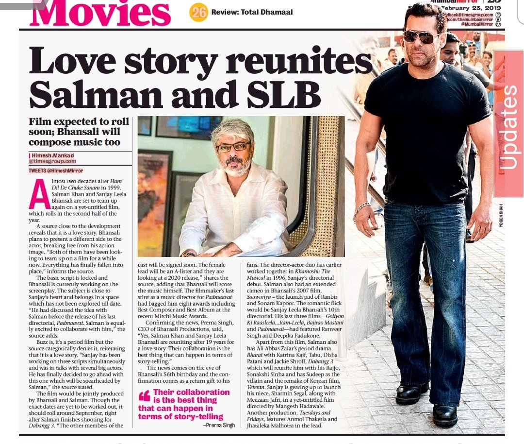EXCLUSIVE and OFFICIAL: @BeingSalmanKhan teams up with #SanjayLeelaBhansali on a love story that goes on floor in September; The CEO of Bhansali Productions confirms the news.  Details: <br>http://pic.twitter.com/BXcf4sFGRA