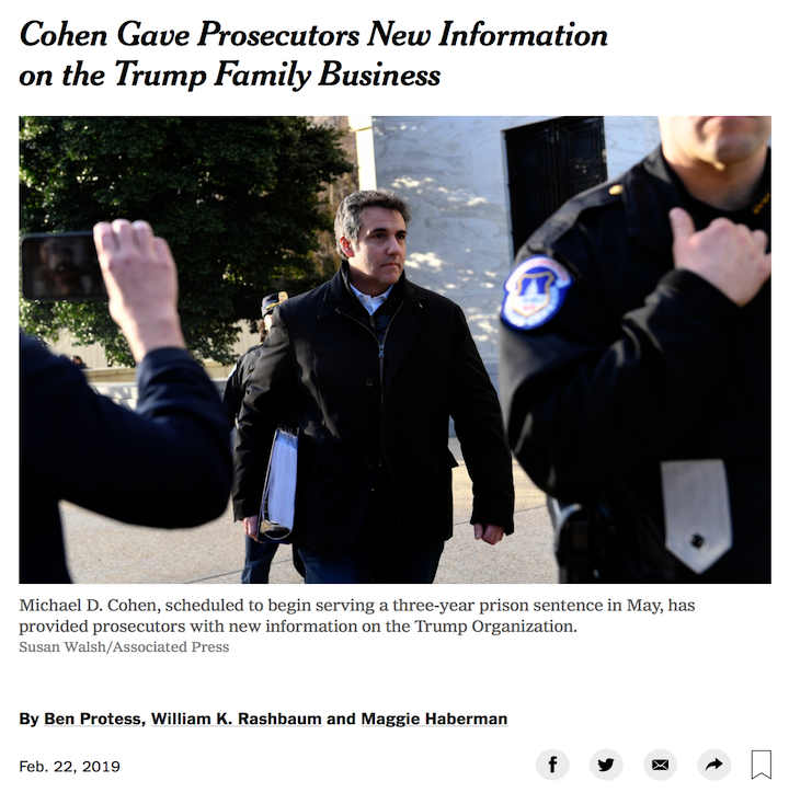 SCOOP: Trump's former lawyer and fixer, Michael Cohen, met last month with Manhattan federal prosecutors and gave them new information about irregularities within Trump's family business and about a donor to the inaugural committee. by @WRashbaum #Maddow https://nyti.ms/2GEXqNG