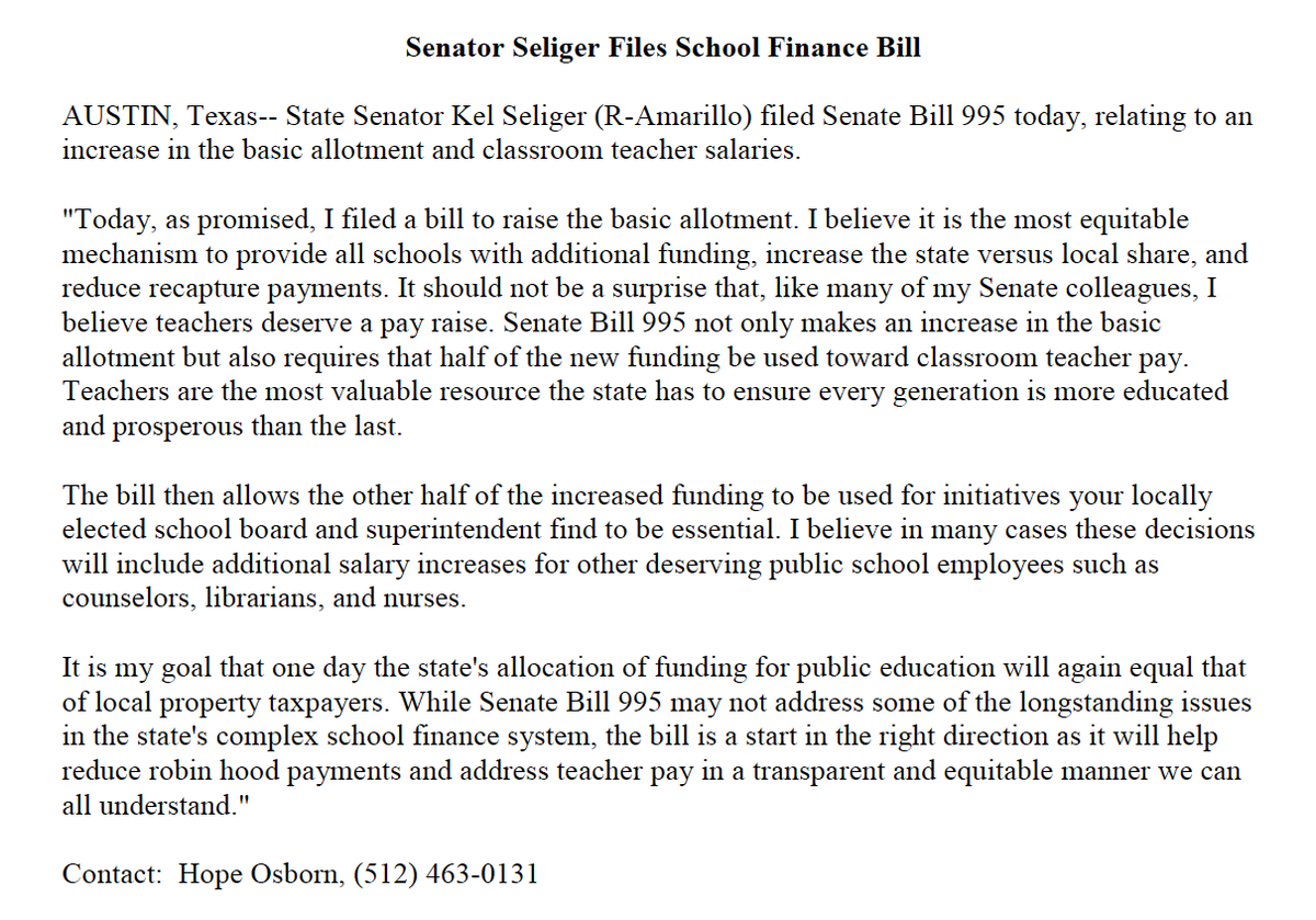 Today, as promised, I filed a bill to raise the basic allotment. #txlege #txed