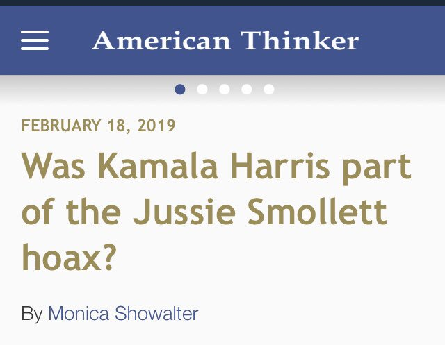 The Democrat Party  FAKE Hate Crime  Media Machine  One More Way To Attack #PresidentTrump And Trump Supporters  Was Kamala Harris Part Of The #JussieSmollettHoax⁉️  @randycorporon  @realDonaldTrump   https://t.co/glpV067BYc