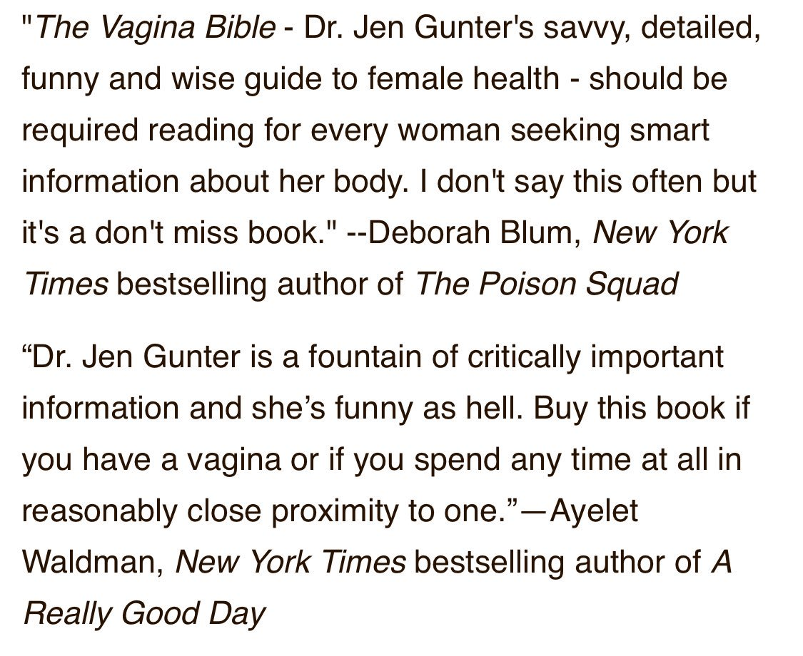 And two early reviews of The Vagina Bible from @deborahblum and @ayeletw