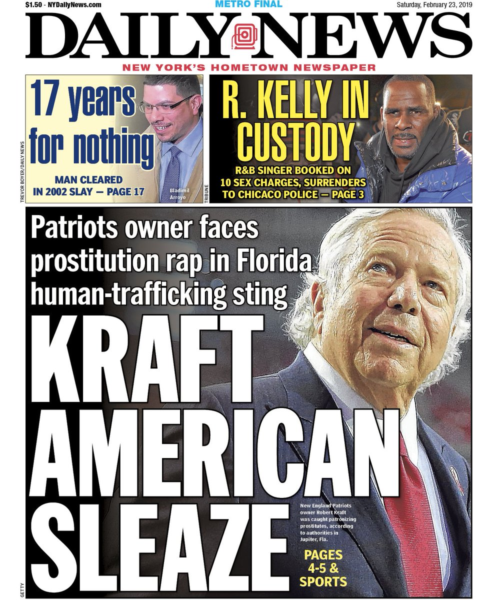 6 Super Bowl rings. 1 prostitution ring.  Patriots owner Kraft caught in big sex and trafficking sting  https://t.co/KU3iKhLv19  An early look at Saturday's front page…