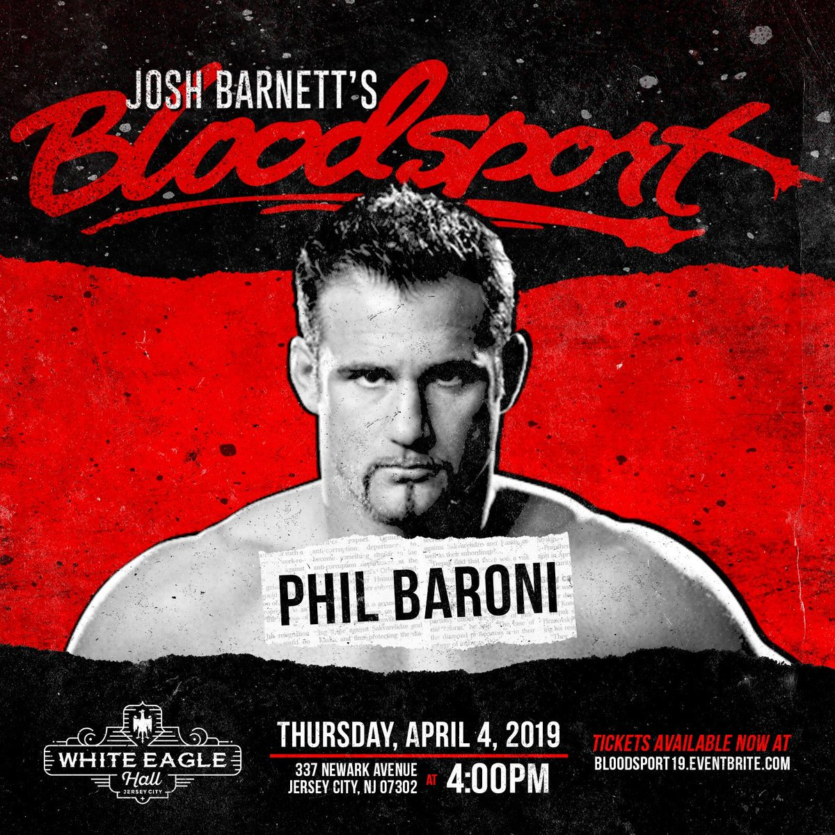 Guess who&#39;s coming to Josh Barnett&#39;s: Bloodsport?  Only the &quot;Best Evah&quot;.  The &quot;NY Bad Ass&quot; @philbaroni is bringing thunder &amp; lightning to our ring April 4th.  #JBBloodsport  @GCWrestling_  #Wrestlemania week <br>http://pic.twitter.com/8DMh0UmGcS