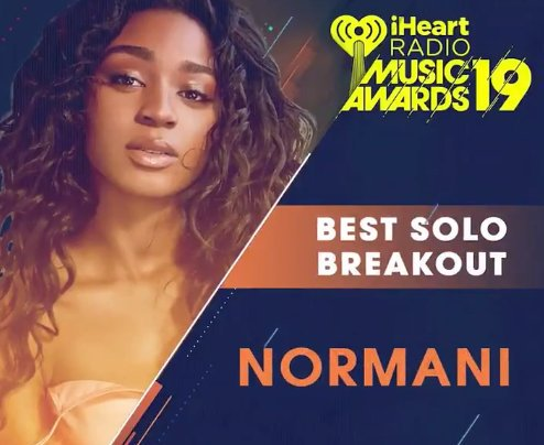 Hey @Normani  I&#39;m voting for #Normani for #BestSoloBreakout at the #iHeartAwards. RT to vote too! <br>http://pic.twitter.com/Ey4wq7Zh9D