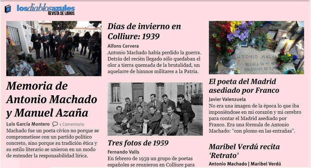 No te pierdas nuestro especial 'La memoria de #Machado' en el nuevo número de #LosDiablosAzules, la revista de libros de @_infoLibre http://ow.ly/hGi630nN5zi