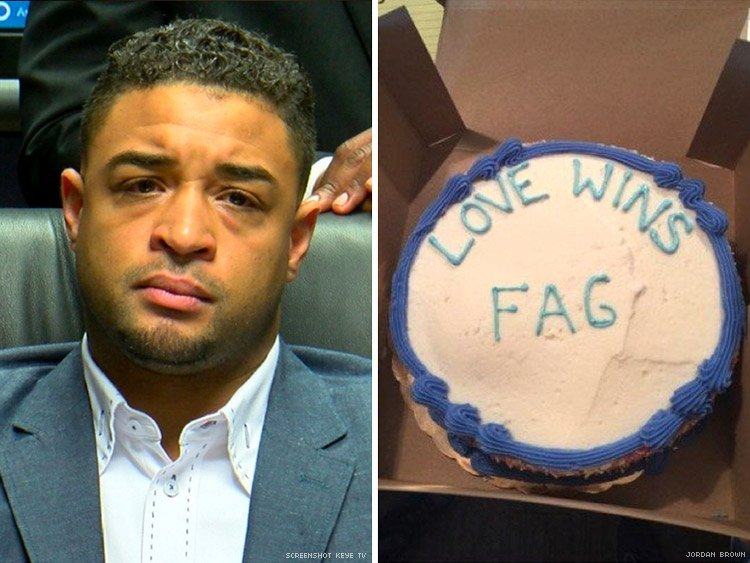 April 2016 Austin,Texas: Jordan Brown, a gay pastor, posted viral video where he was emotional &amp; said that Whole Foods wrote &quot;Love Wins F*G&quot; on cake he ordered. He launched a lawsuit during a highly publicized press conference. It was fabricated.  https://www. kxan.com/news/local/aus tin/whole-foods-lawsuit-dismissed-man-says-company-did-nothing-wrong/1049801300 &nbsp; …  #HateHoax<br>http://pic.twitter.com/hqB06PYzEq
