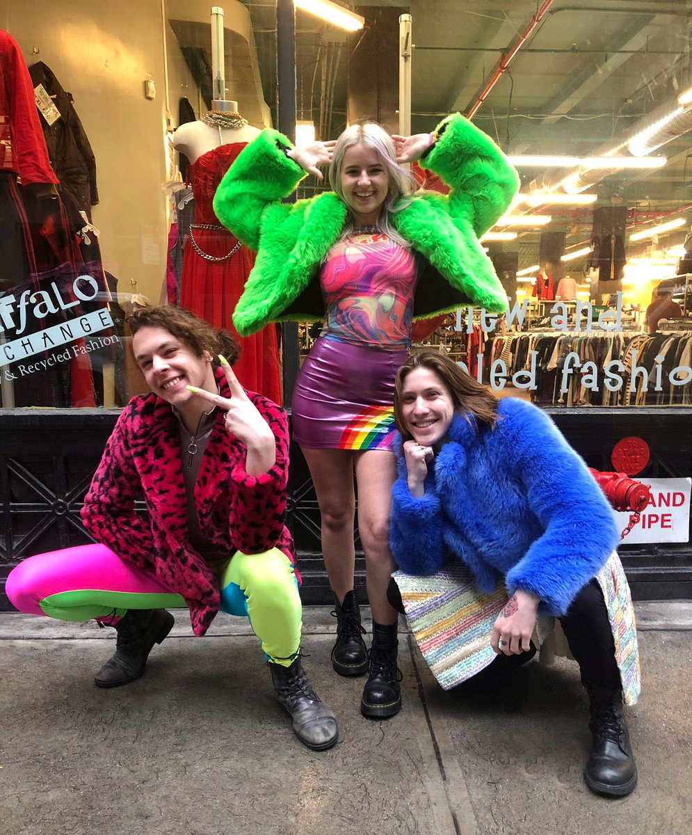 Amazing technicolor dream coats from Buffalo Exchange #Manhattan #Chelsea! #WinterFashion #WinterStyle #FauxFur #Neon #Technicolor #JosephAndTheTechnicolorDreamCoat #Broadway #Musicals #RainbowFashion