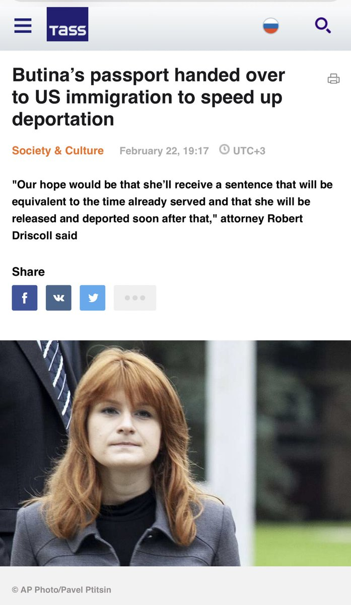 Maria Butina's passport handed over to US immigration to speed up her deportation from US to Russia  Her sentencing date is Feb 26th <br>http://pic.twitter.com/RxrWUciCfg