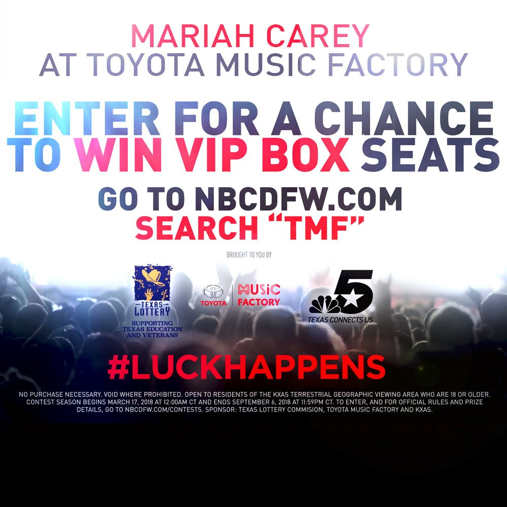 Your chance at 4 VIP @MariahCarey tickets for @ThePavilionTMF on February 27th.   From @TexasLottery and @NBCDFW.   #LUCKHAPPENS   Enter here: http://on.nbcdfw.com/kdV1sfd