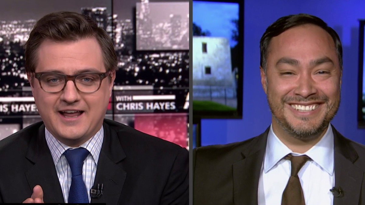 .@chrislhayes asks @JoaquinCastrotx, if he's growing a beard so people don't mix him up with his twin and 2020 candidate Julián Castro #inners