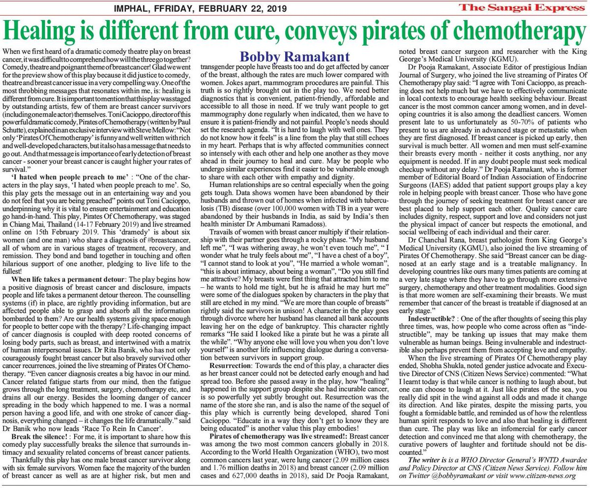 Editorial in The Sangai Express, #Imphal #Manipur showcases great example of how #theater #comedy can help raise awareness on early #cancer detection &amp; #healing of those #women &amp; #men dealing with #breastcancer  http://www. citizen-news.org/2019/02/healin g-is-different-from-cure-conveys.html &nbsp; …  #beatNCDs #beatcancer #iamandiwill  <br>http://pic.twitter.com/gNkNq2x6qC