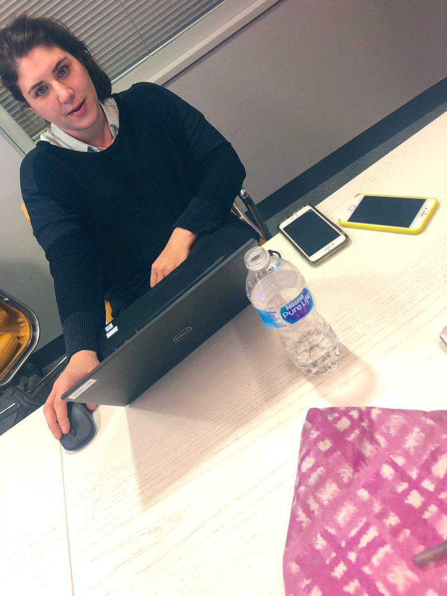 @kpolantz got her laptop open and her two phones ready. This is how CNN will learn when this thing is finally filed. Thank her for all her hard work.