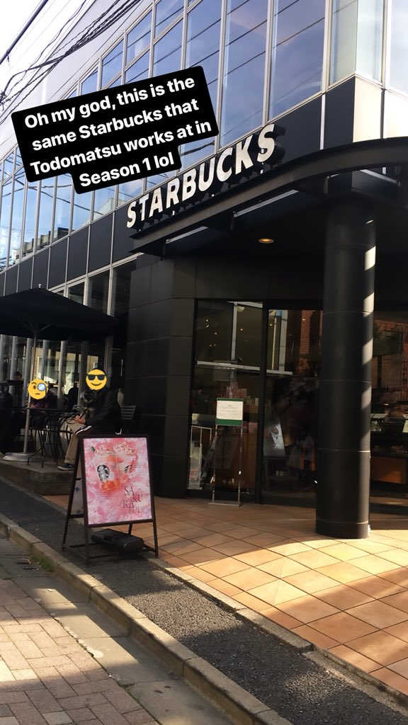 """I learned yesterday that the Starbucks in Harajuku is the same one Totty works at in S1Ep7  You go inside like """"whoa, there's the same table Ichimatsu almost takes a shit on..."""" *pulls out phone* #osomatsusan <br>http://pic.twitter.com/Mbkdacih9P"""