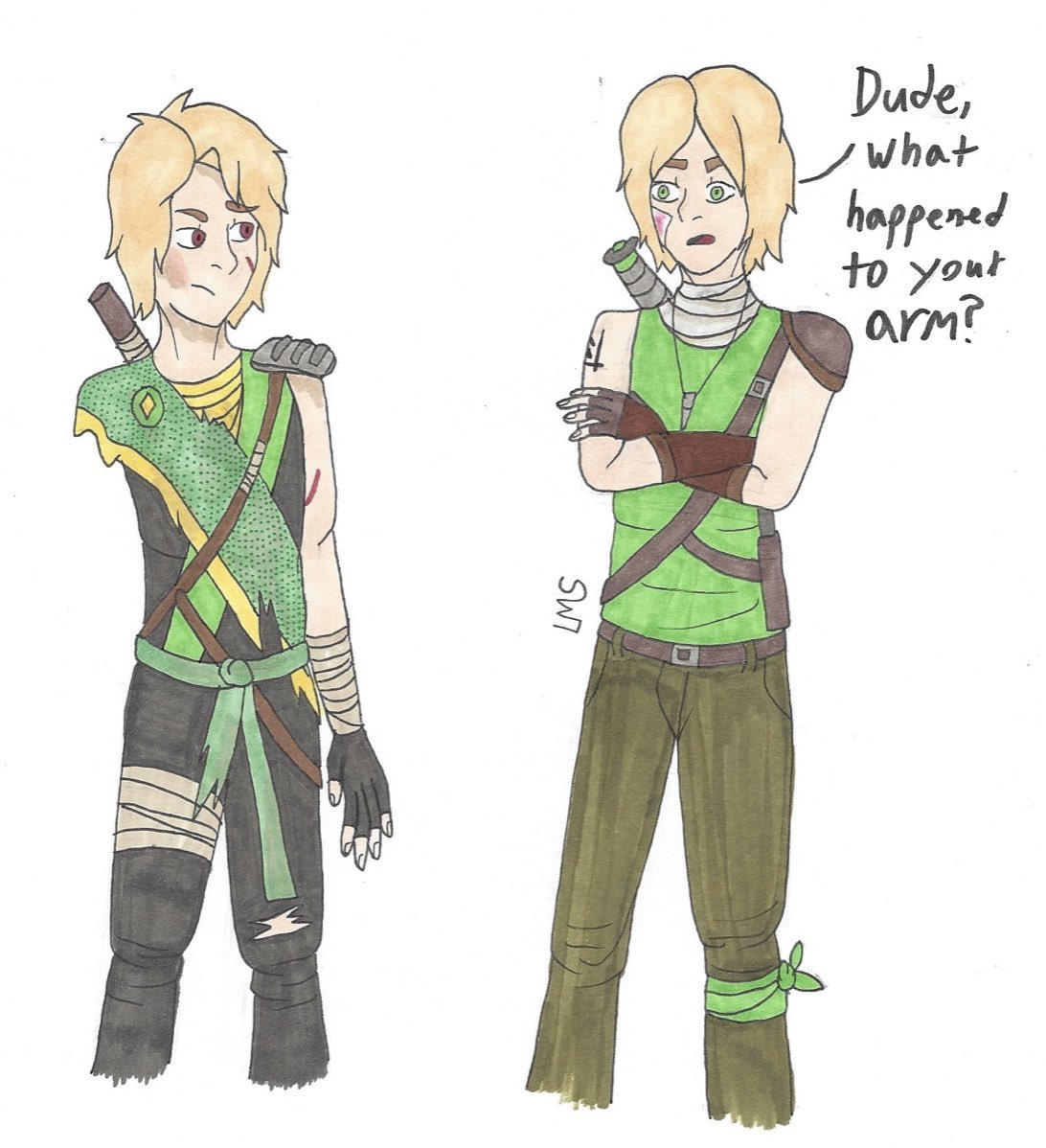 So turns out I'm not the only one with an Apocalypse AU. There are actually a couple, but this is the first one I noticed. So I thought it'd be fun to draw the Lloyds side by side! The one on my right is my version. The one on the left is by Meeyahmaya (Tumblr) #Ninjago