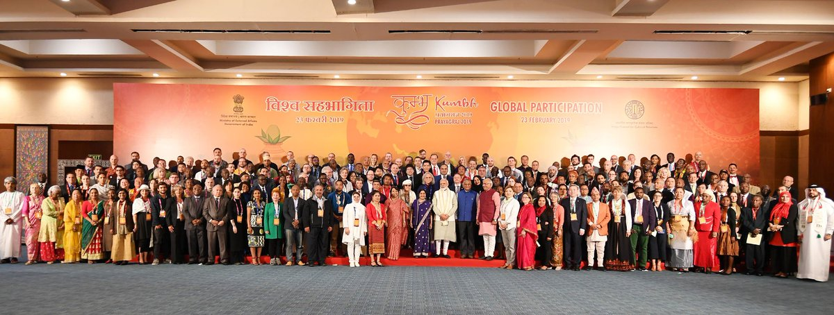 Prime Minister, Shri @narendramodi and the Union Minister for External Affairs, Smt. @SushmaSwaraj and other dignitaries in a group photograph with the Pravasi Bhartiya representatives from various countries at #PravasiBhartiyaKendra, in New Delhi.